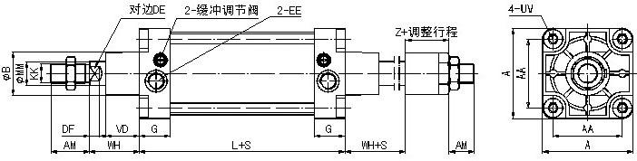 QGSL行程可调气缸缸径32~160,将QGS气缸活塞杆行程设计成可调即构成行程可调气缸,该系列气缸的安装方式及尺寸参照QGS气缸,可内置磁环,磁性开关配置D-A54 技术参数 1.调整方式-单侧手动调节 2.行程调节范围-0~50mm 型号选择 QGSL Nn 50 X 100 A LB Y DX R QGSL -普通型行程可调气缸 Nn -内置磁环:N=内置磁环;n=磁性开关数量 50 -气缸内径 100 -气缸行程 A -缓冲:A=无缓冲;B=可调缓冲 LB -安装方式:SD=基本型;LB=轴向