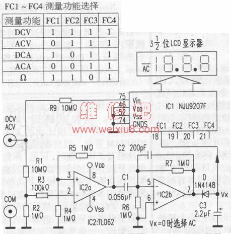 万用表ac/dc自动转换电路原理和维修