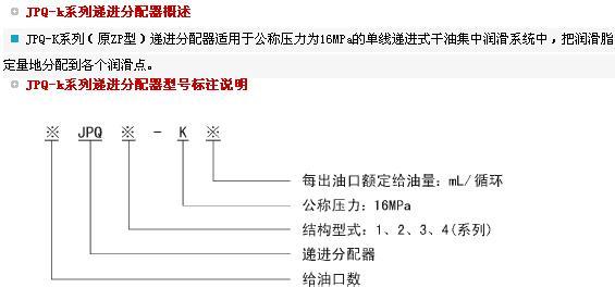 JPQ-K递进分配器