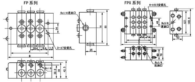 FPX-25T  FPX-15S  FPX-50T  FPX-50S  FPX-75T  FPX-75S  FPX-100T   单线分配器  (5~24MPa
