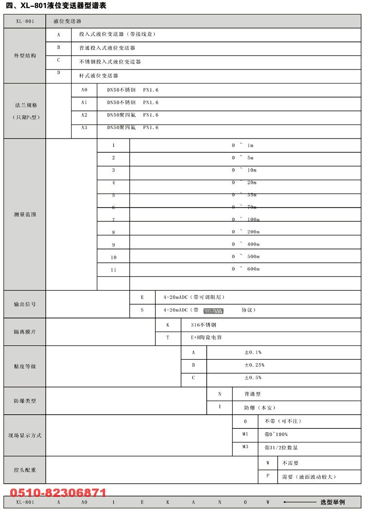 液位变送器 XL-801D