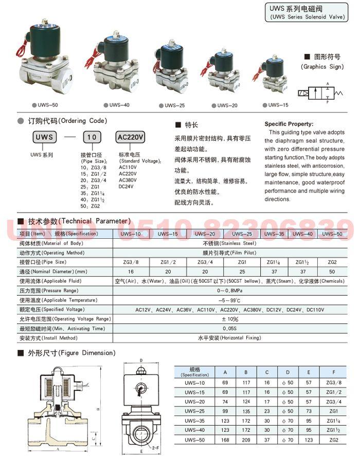 UWS-10     UWS-15     UWS-20     UWS-25    电磁阀