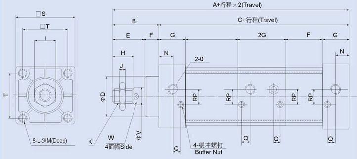 SCT系列多位复动型气缸  产品特性 免润滑性:采用含油轴承,使活塞杆无需加油润滑; 可调缓冲性:除带固定缓冲外,气缸终端还带有可调缓冲,使气缸换向时平稳无冲击。 安装多样性:多种安装附件供客户选择; 耐高温性:气缸采用耐高温密封材料,使气缸在150摄氏度,高温条件下正常工作(客户需向本公司订购); 附磁性:气缸活塞上装有一个永久磁铁,它可触发安装在气缸上的感应开关来感测气缸的运动位置(客户需向本公司订作); 多位性:采用特殊结构,通过系统控制,活塞杆在整个行程范围可以分级进行,产生多个位置,若前后两缸行