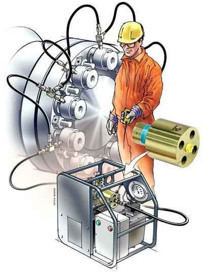 图解:运行中的液压泵站。