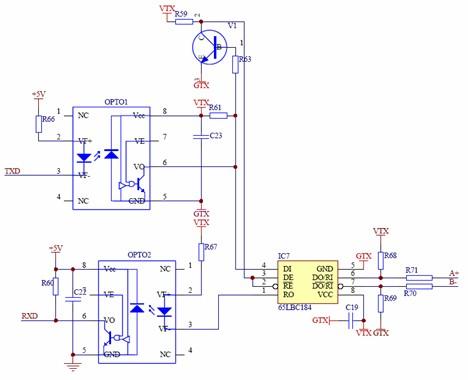 通讯接口模块采用通用的rs-485,modbus rtu通讯规约,电路原理见图6,能