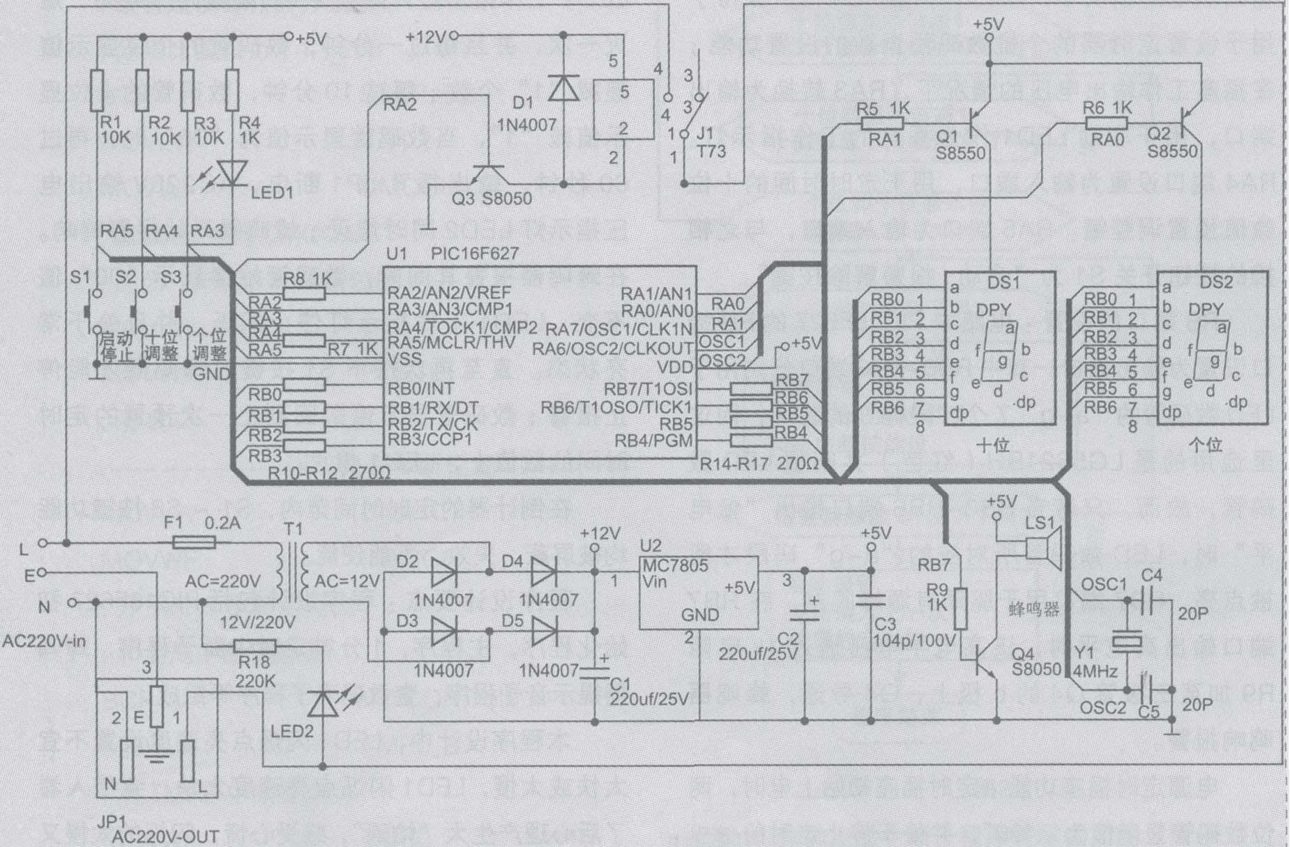 """电源 部分电路:AC220V 交流市电从电路图1中左下端的三孔 插头 输入到本 定时插座 中,其中""""火线""""L 分为两路分别加在控制电压输出 继电器 J1 的定 触点 端和电源 变压器 T1 的初级绕组的 保险丝 管上,""""零线""""N 端加在输出插座JP1 的N 端和 电源变压器 T1 的另一端,"""" 接地线 """"E 端则与输出插座的接地端E 相连,输出插座JP1 的""""火 线端 """"L则受控于继电器J1 的动触点端。由T1 电源"""