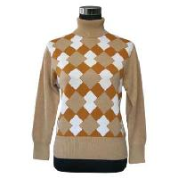 Ladies' Intarsia Turtleneck Cashmere Sweater