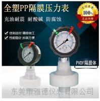全塑PP隔膜压力表耐腐蚀耐酸碱PVDF隔膜压力表PP隔膜压力表