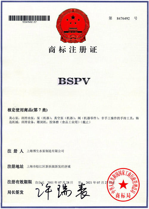 """""""BSPV""""英文注册商标"""