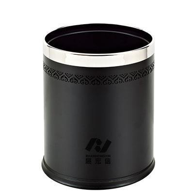 圆形双层垃圾桶/黑色雕花